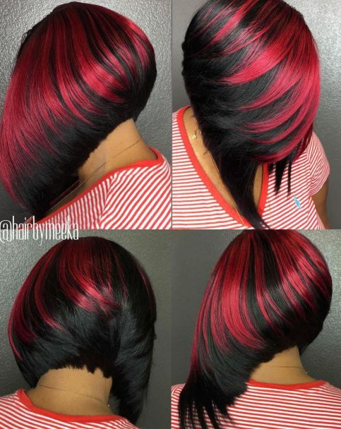 19 black and red angled bob weave