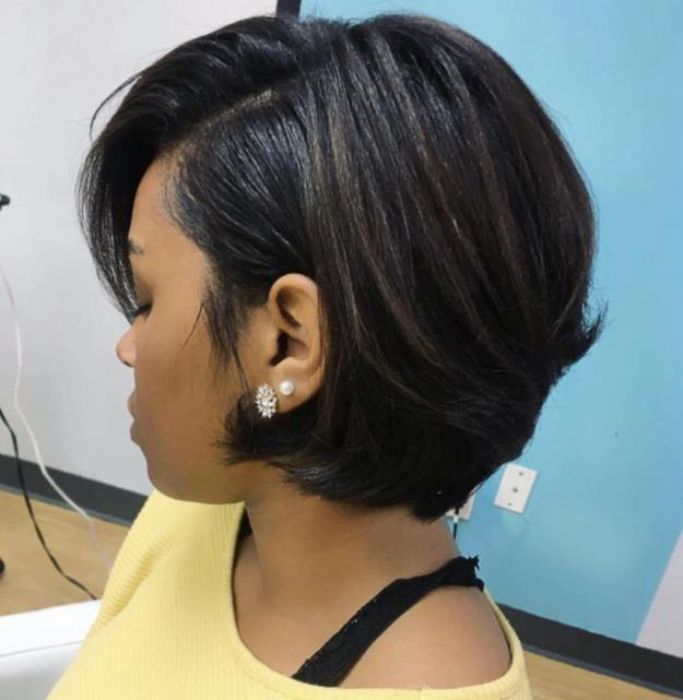 2 side parted short brunette hairstyle