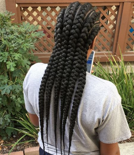 3 african american thick and thin braids
