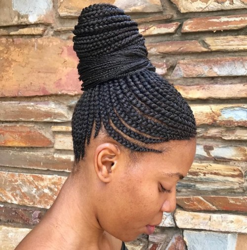 4 high bun with box braids