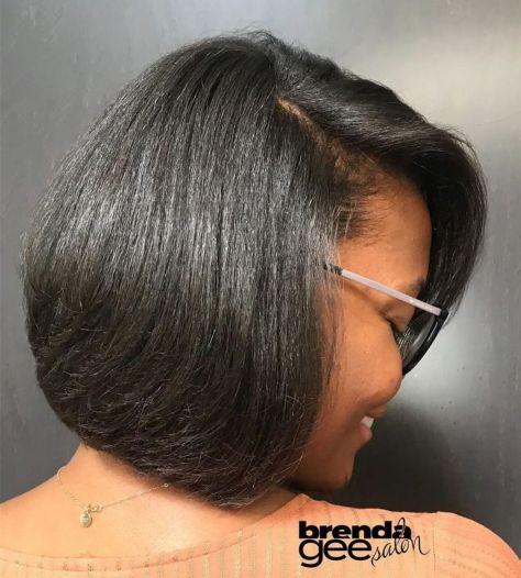 8 smooth black hair bob