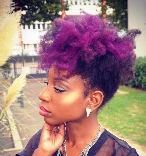 9 natural hair purple mohawk updo
