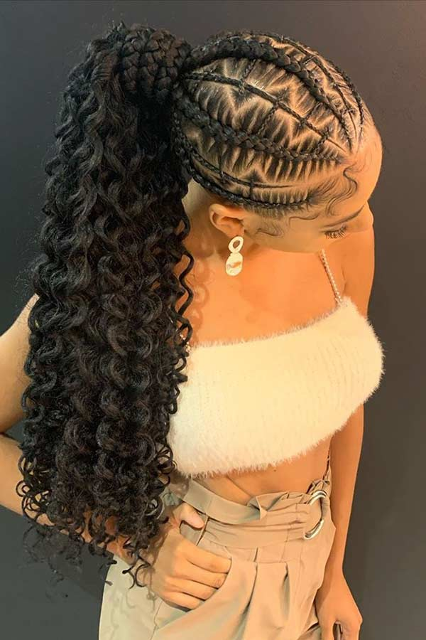 Braided Ponytail with Weave