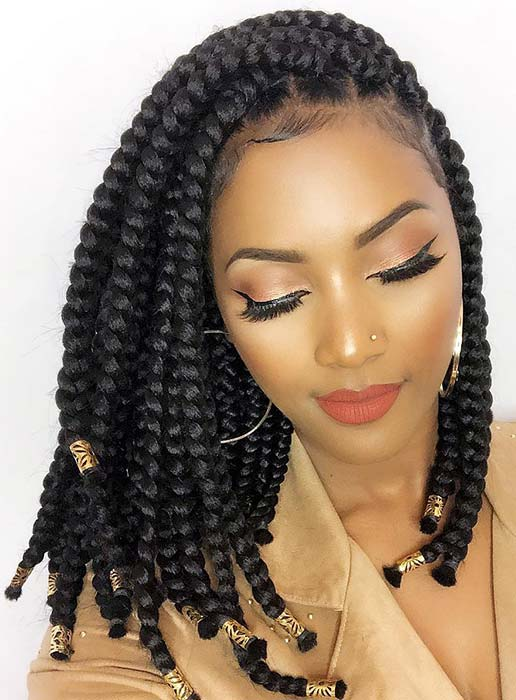 Chunky Side Braids with Hair Cuffs