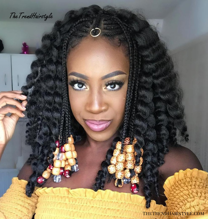 Curly Lob with Face Framing Fulani Braids