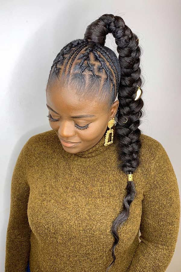 High Black Braided Ponytail