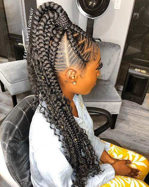 High Ponytail with Braids and Curls