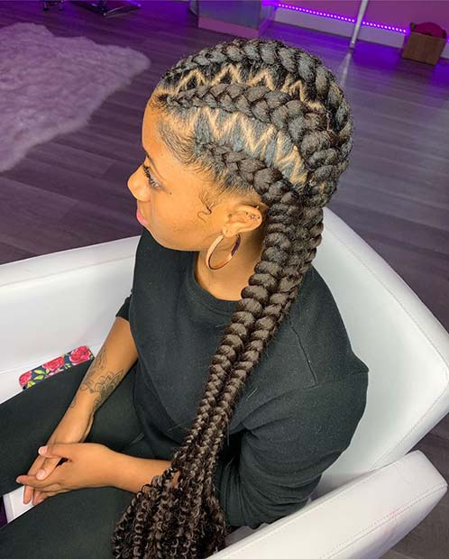 Jumbo Cornrows with Zig Zag Parts