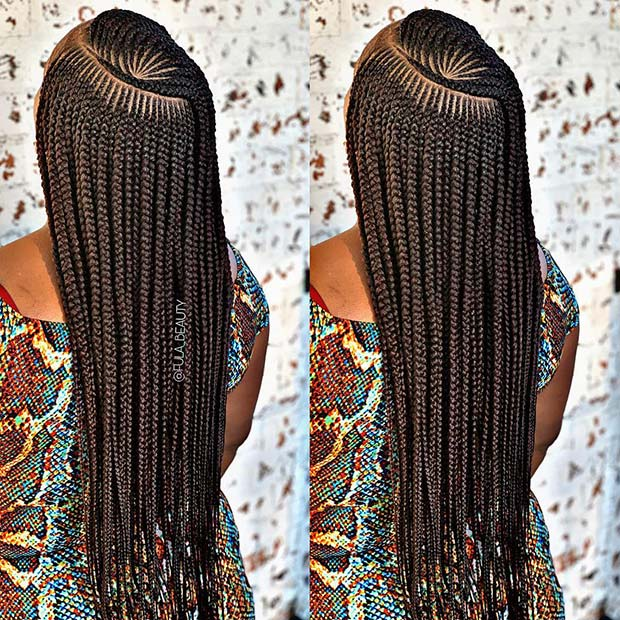 Long Braids with Stylish Pattern