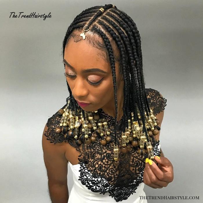 Simple Shoulder Length Fulani Braids