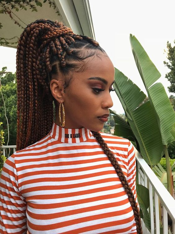 auburn long box braids