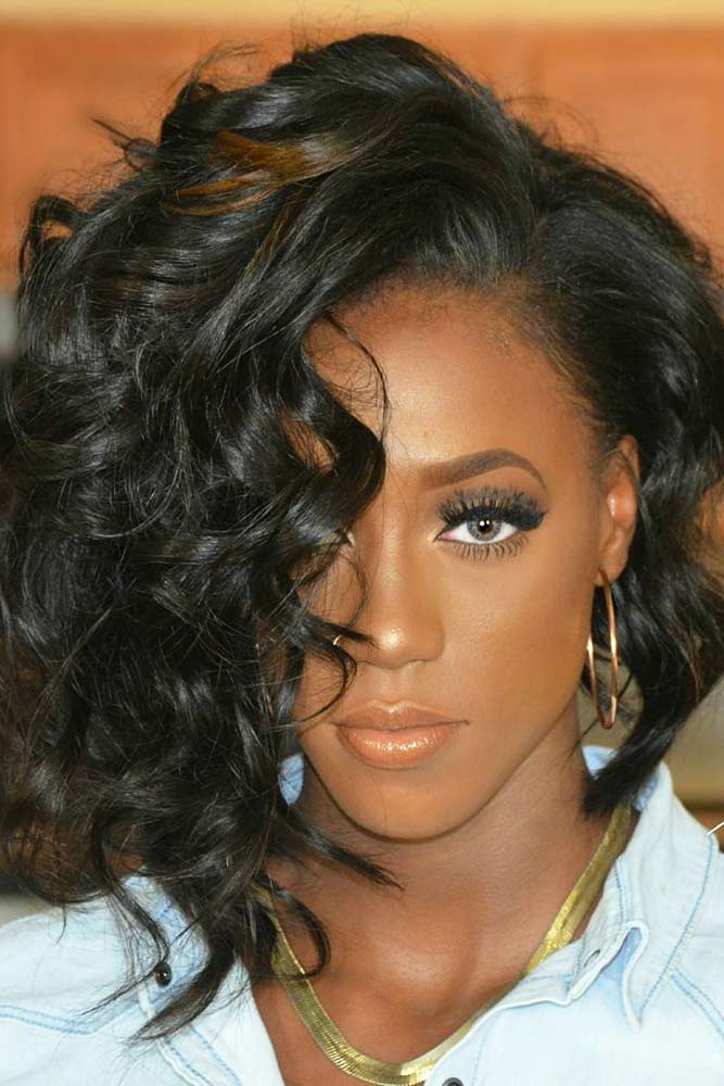 bob hairstyles for black women asymmetrical wavy lob