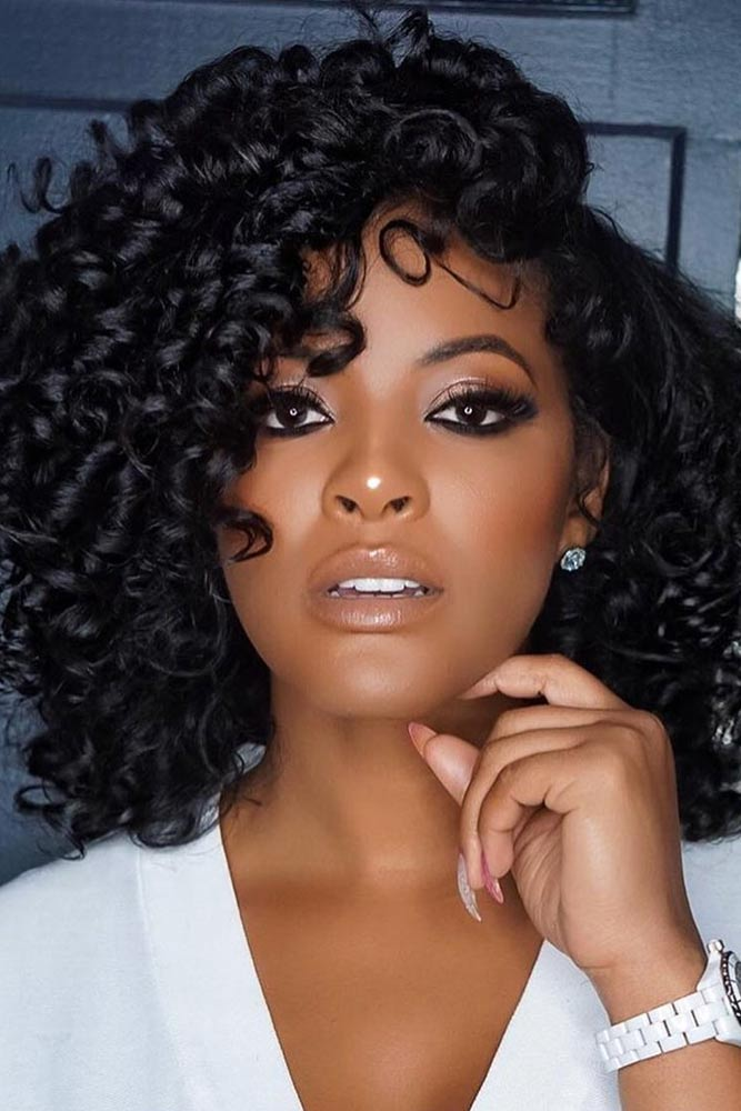 bob hairstyles for black women curly long side parted layered