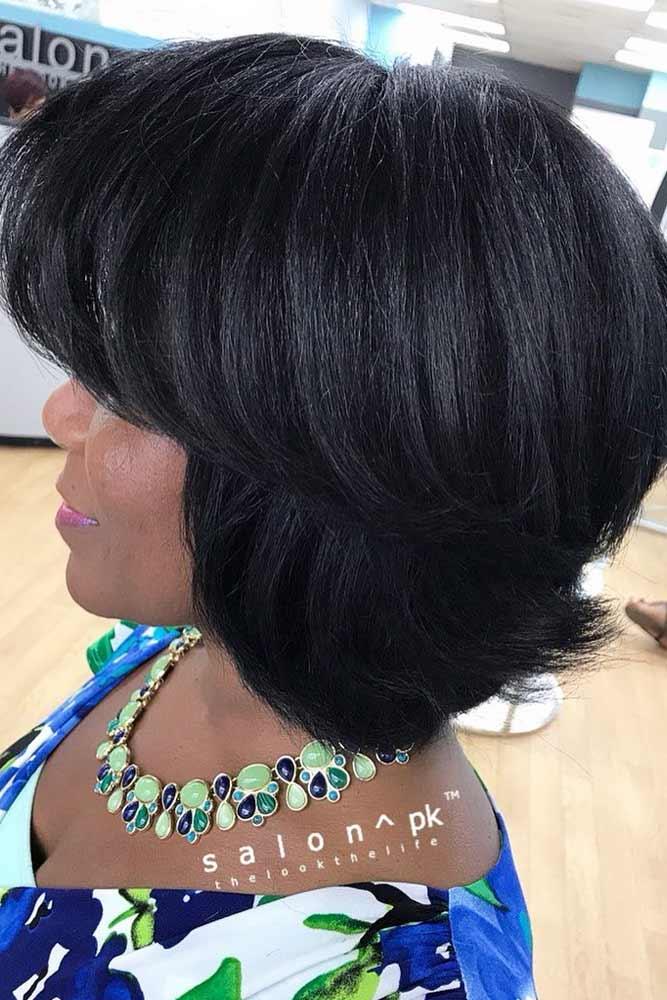 bob hairstyles for black women layered medium straight bangs