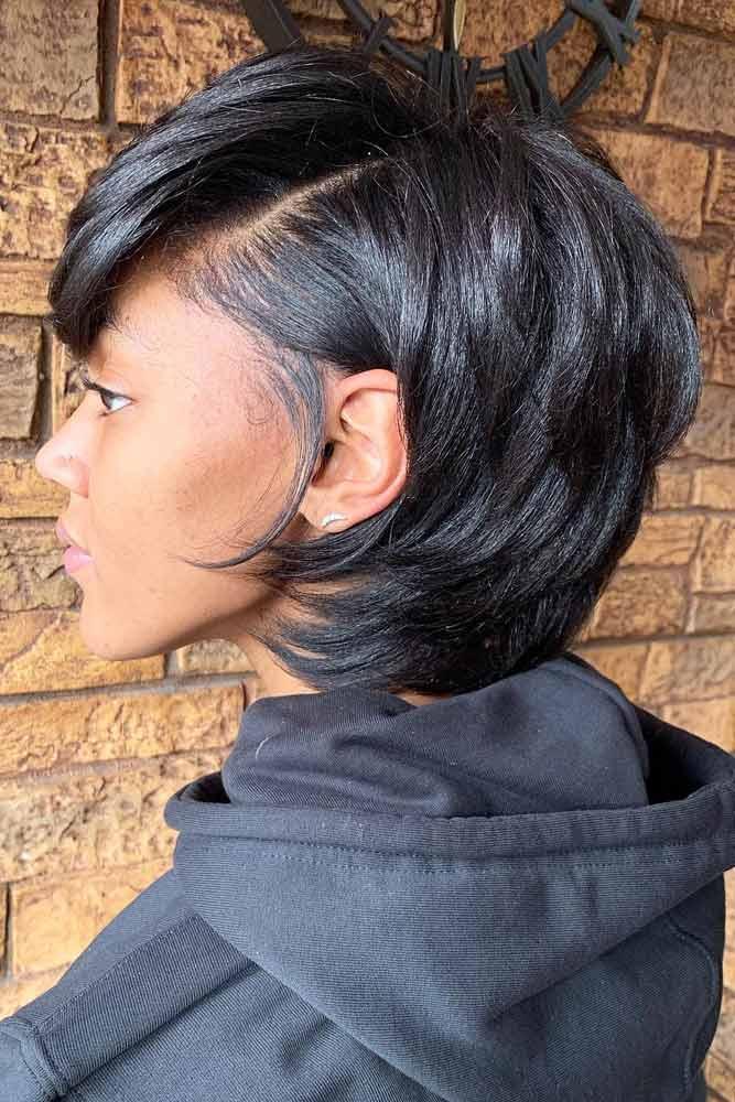 bob hairstyles for black women layered medium