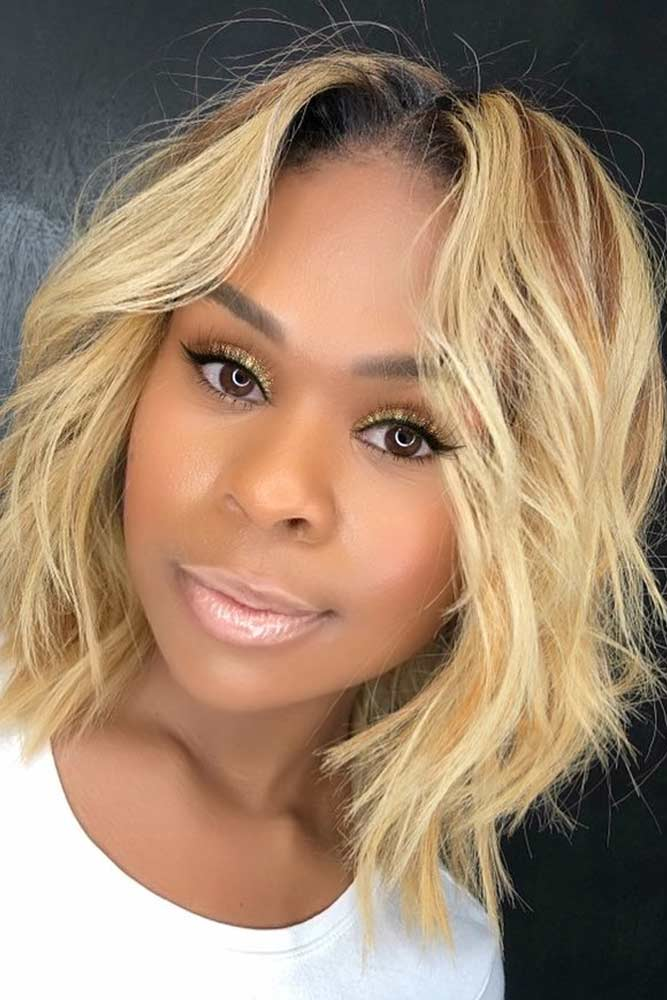 bob hairstyles for black women middle parted