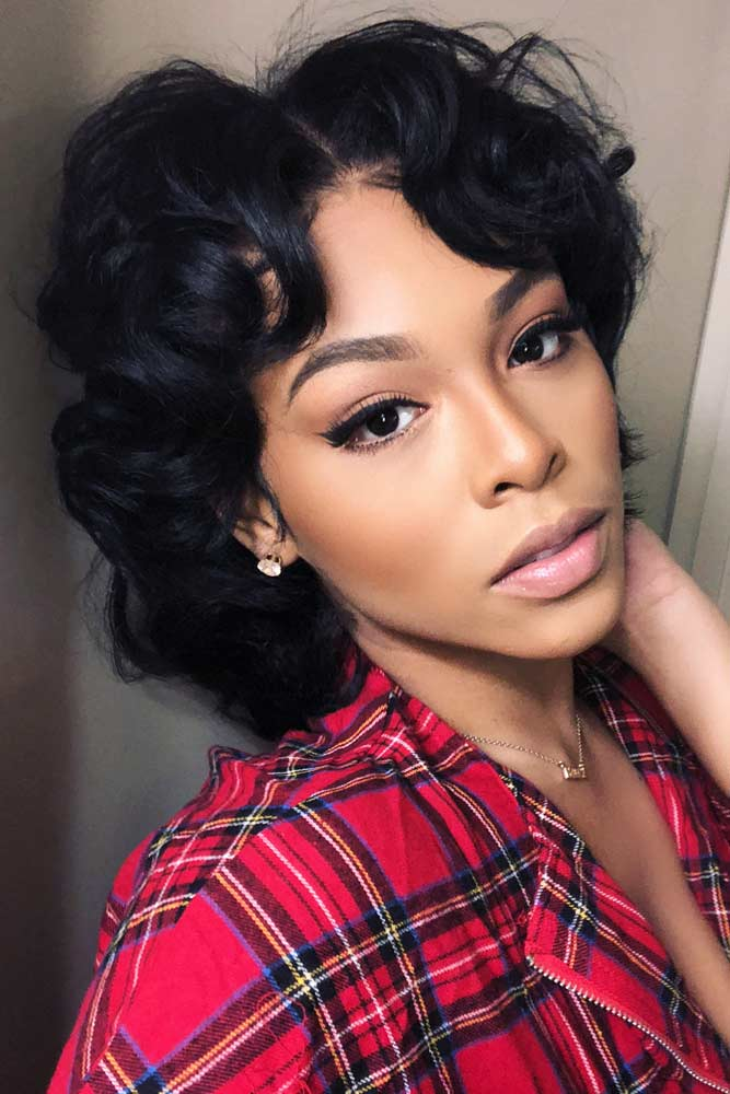bob hairstyles for black women middle parted wavy