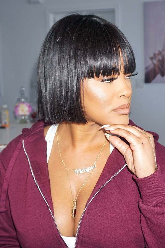 bob hairstyles for black women short blunt straight bangs