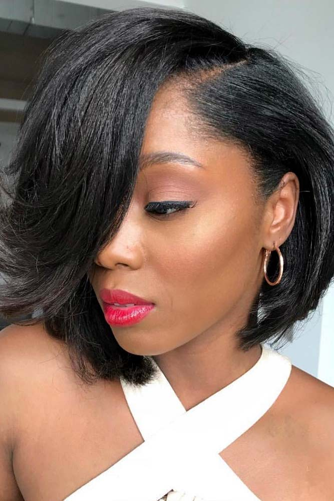 bob hairstyles for black women short inverted straight