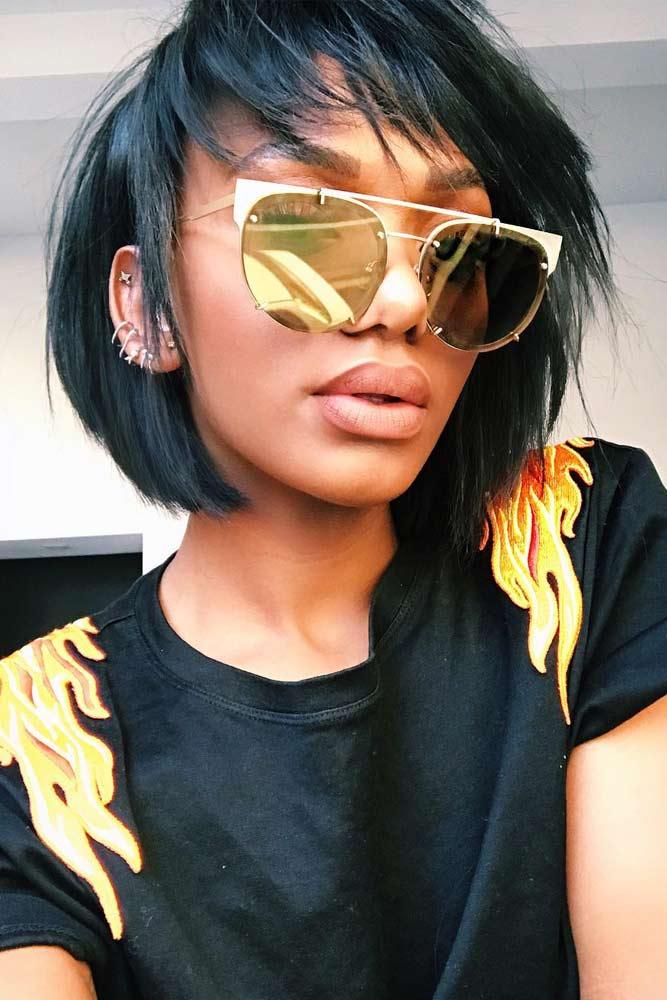 bob hairstyles for black women short shag bangs