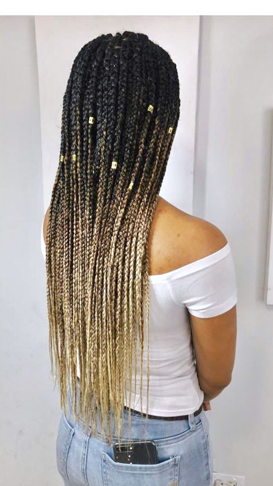 box braids thin long blonde ombre
