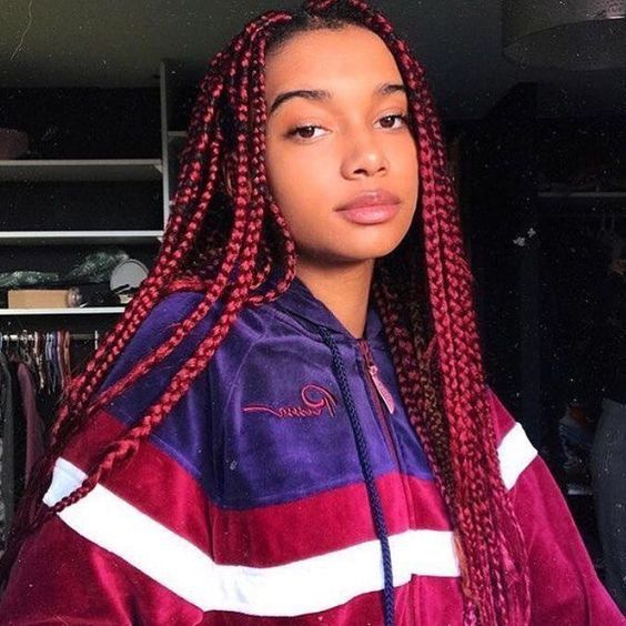 bright red box braids