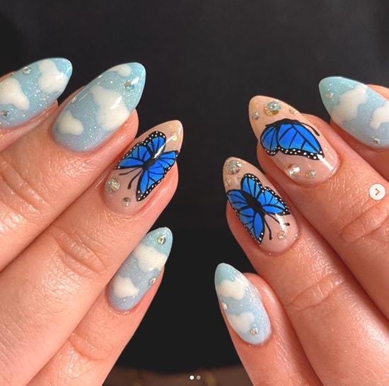 butterfly cloud nail art idea