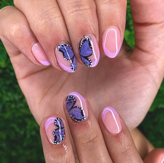 butterfly french nail art idea