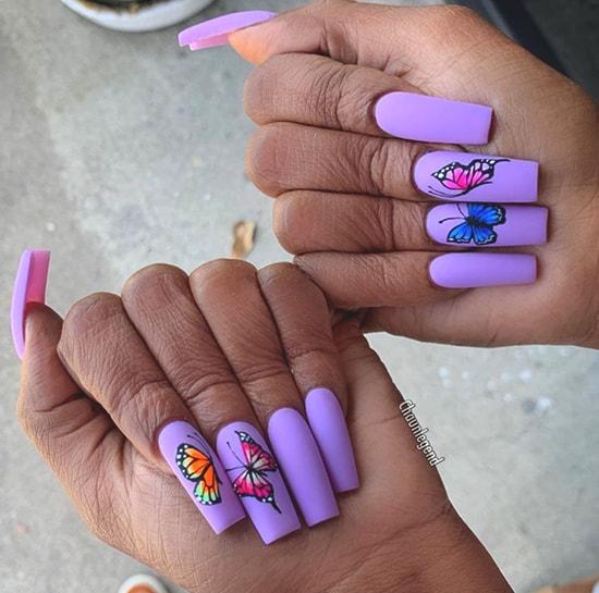 butterfly purple nail art idea