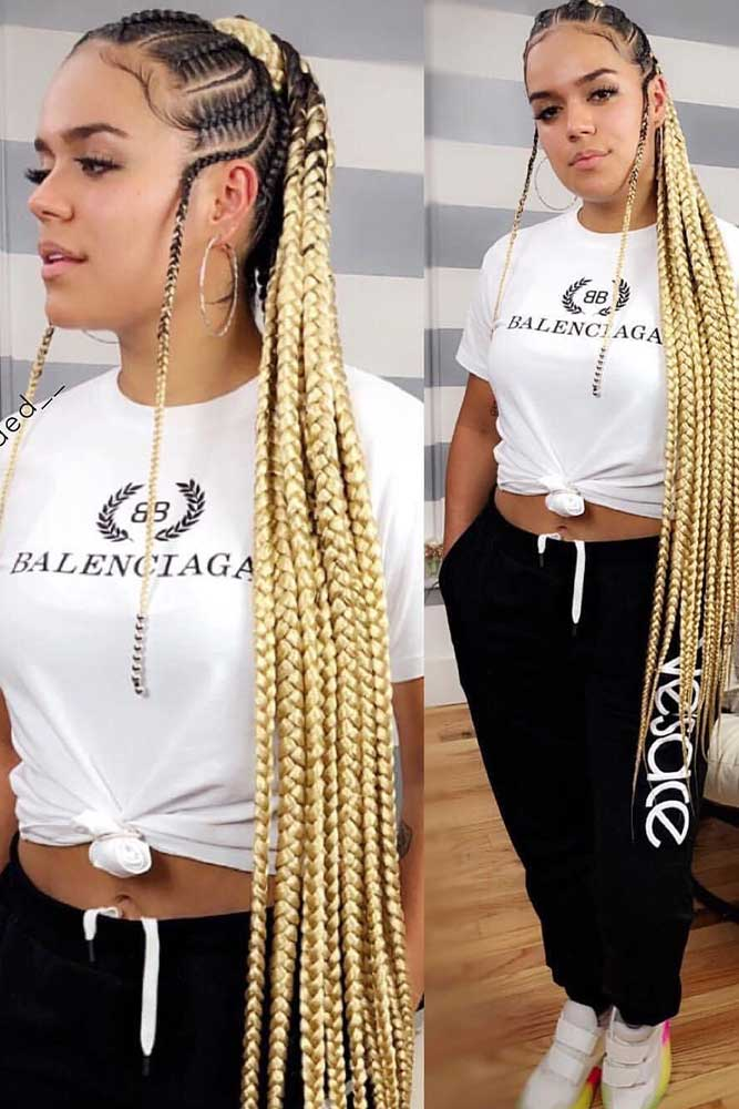 cornrows hairstyles bonde pony