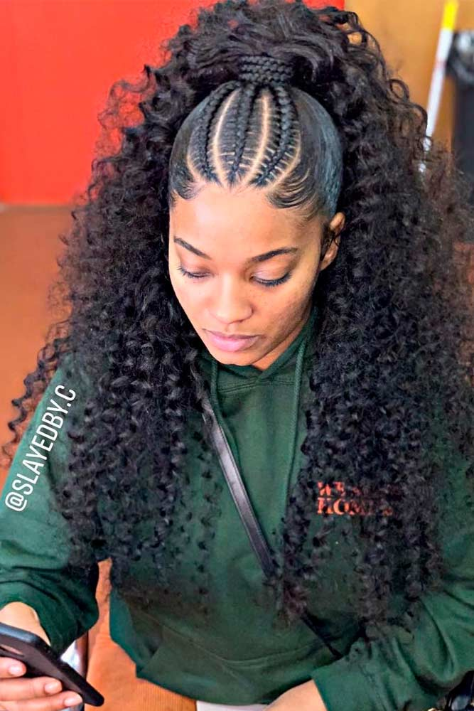 cornrows hairstyles curly half up
