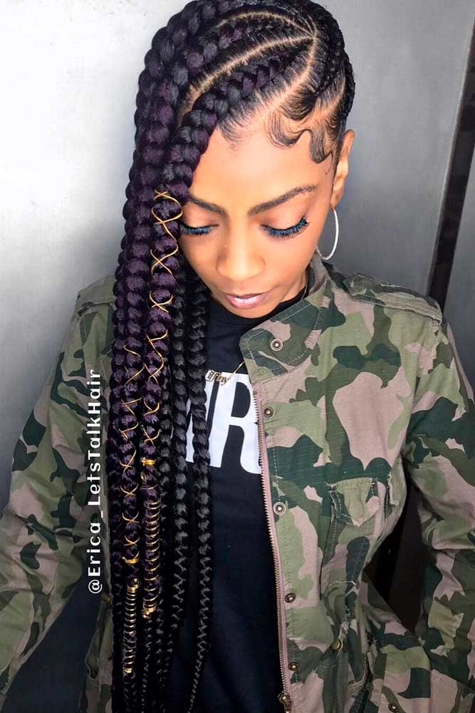 cornrows hairstyles long thick hoop