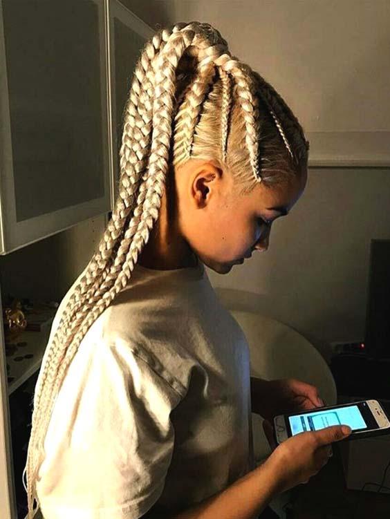feed in blonde braids for black women