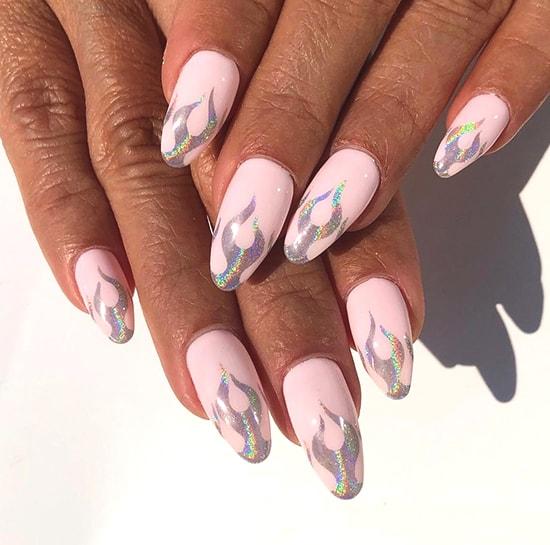 flames glittery nail art design