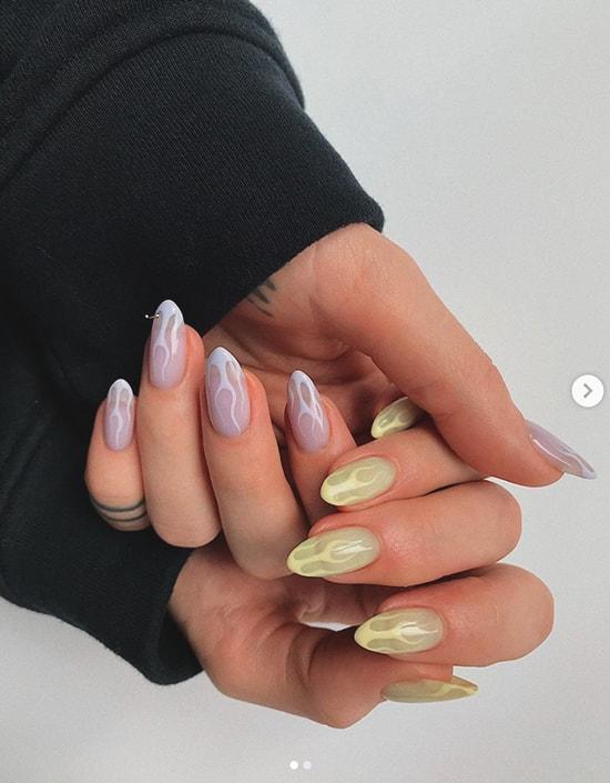 flames pastel nail art design idea