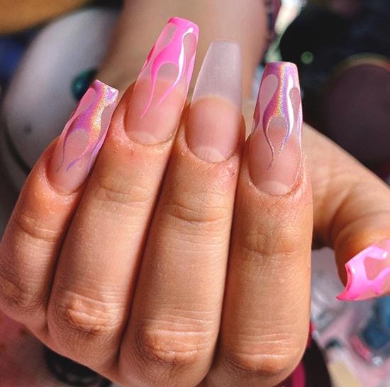 flames pink spring nail art idea