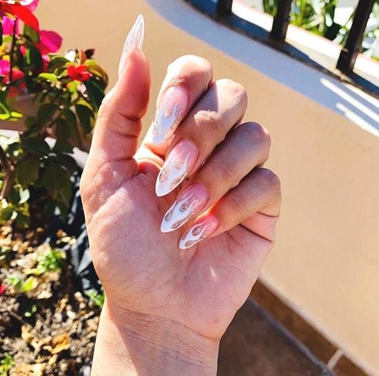 flames white nail art idea