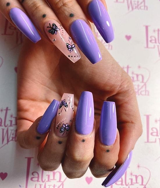 lilac butterfly nail art design idea
