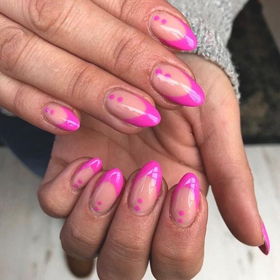minimal pink spots spring nail art trend