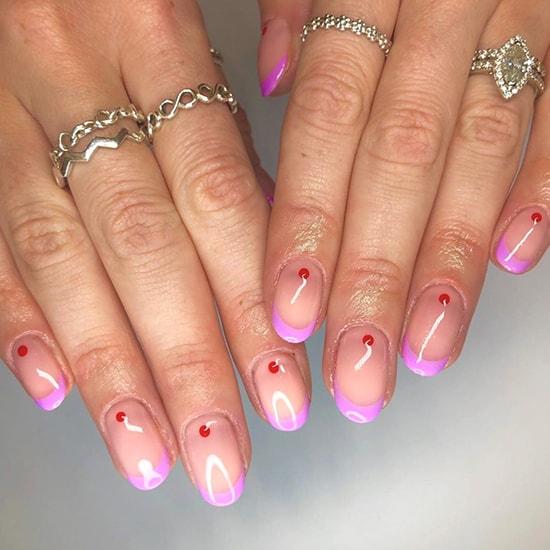 minimal red dots nail art idea spring nails
