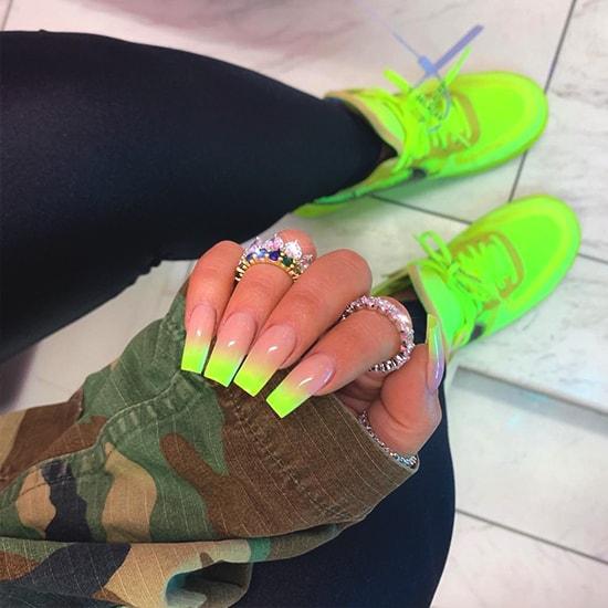 neon ombre nail art idea