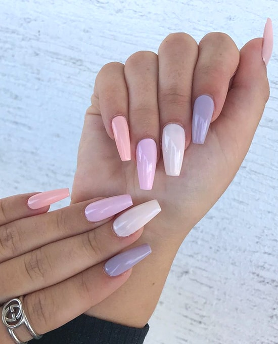 neutral pastel ombre rainbow nail art spring nails