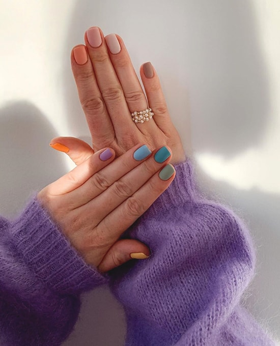 neutral pastel rainbow ombre nail art idea