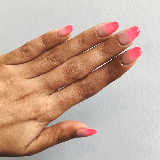 nude to neon ombre nail art idea