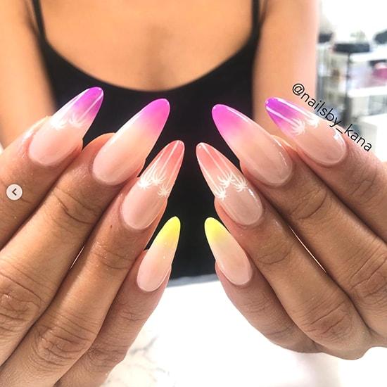 nude to neon ombre spring nail art idea