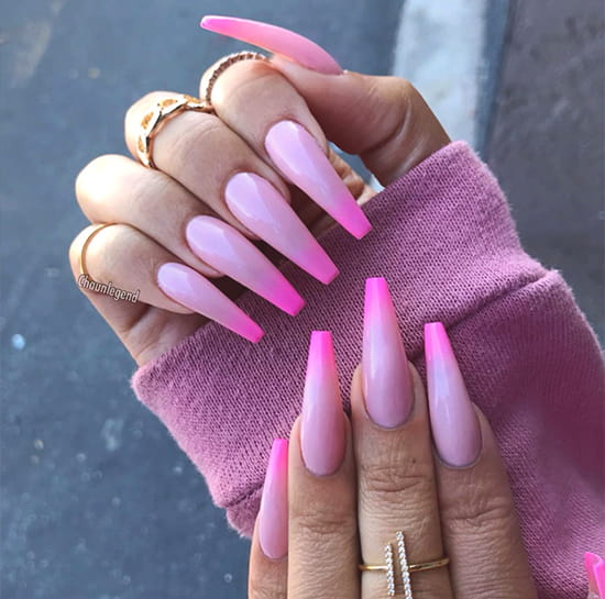 nude to neon pink ombre nail art