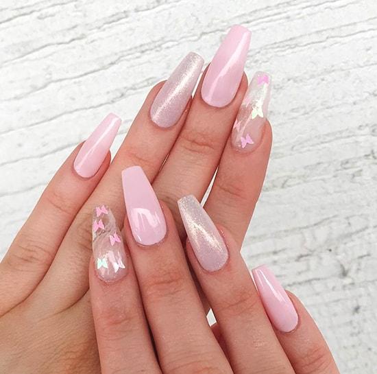 pink butterfly nail art idea