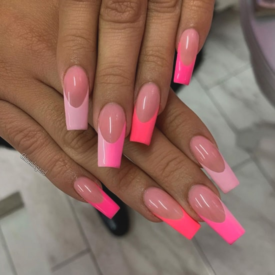 pink ombre french mani nail art idea