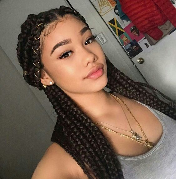 pretty box braids half up