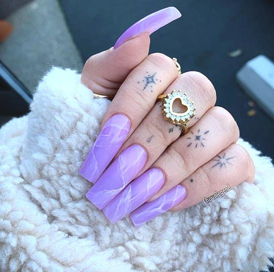 purple marble nail art idea